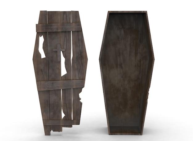 Vieux cercueil en bois sur le fond blanc