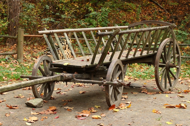 Un vieux chariot en bois