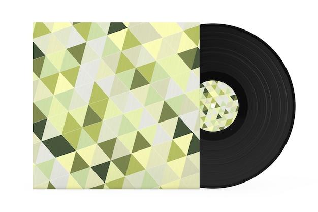 Vieux disque vinyle dans un étui en papier multicolore abstrait sur fond blanc. rendu 3d