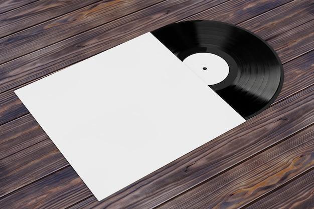 Vieux disque vinyle dans un étui en papier vierge avec espace libre pour votre conception sur une table en bois. rendu 3d