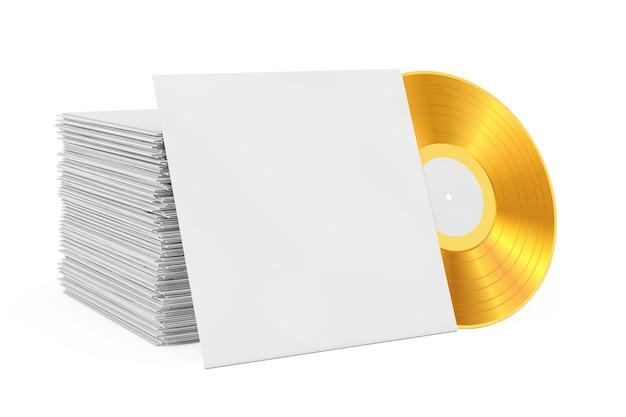 Vieux disque vinyle doré dans un étui en papier vierge avec espace libre pour votre conception près de la pile de disques sur fond blanc. rendu 3d