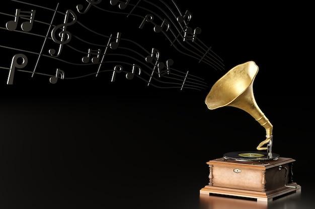 Vieux gramophone ou phonographe antique et notes de musique noires sur fond noir foncé. illustration 3d