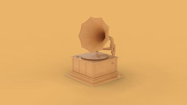 Vieux gramophone rétro jaune isolé sur jaune