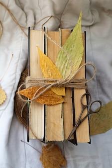 Vieux livres vintage et feuilles d'automne