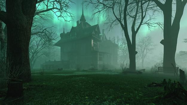 Vieux manoir abandonné hanté dans une forêt de nuit effrayante avec rendu 3d d'atmosphère de brouillard froid