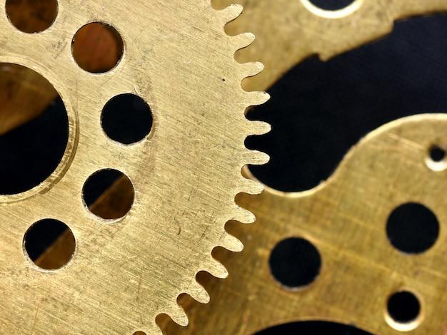 Vieux mécanisme avec engrenages closeup