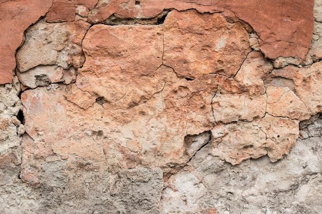 Vieux mur d'argile détruit, fond brun abstrait. surface grunge fissurée, texture. dommages à la façade du bâtiment. risque d'effondrement. conception architecturale.