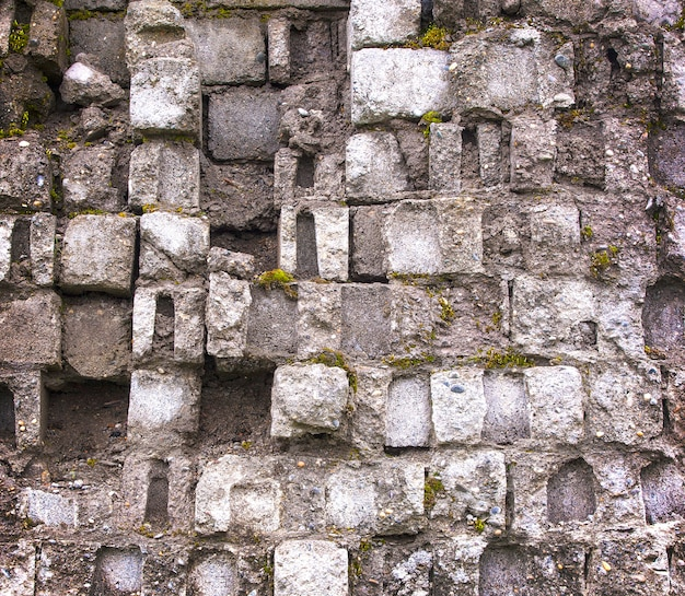 Vieux mur de brique gris recouvert de mousse