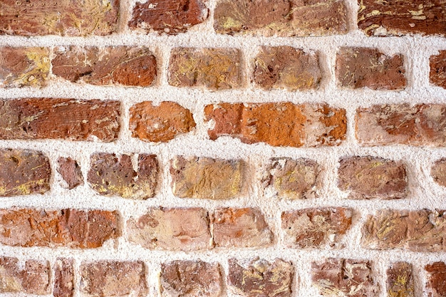 Vieux mur de brique rouge grungy texture horizontale mur de brique toile de fond stonewall papier peint vintage