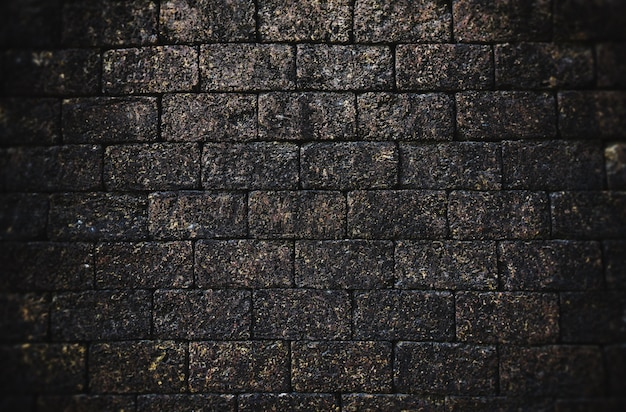 Vieux mur de briques effet vintage pierre noire foncée / motif de fond de texture de brique grunge rugueux abstrait