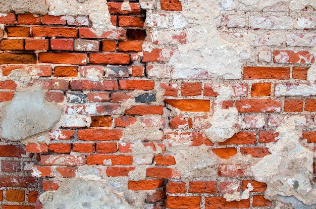 Vieux mur de briques. maçonnerie ancienne rustique. la structure et le motif d'un mur de pierre détruit. espace de copie.