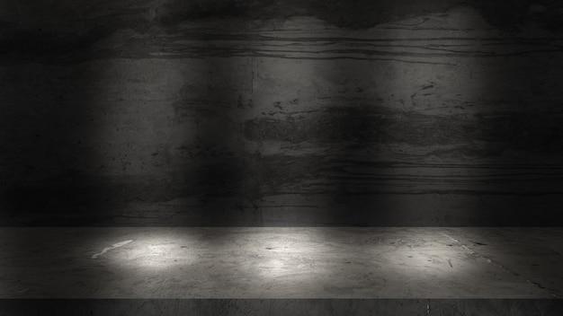Vieux mur et sols en ciment gris pour la présentation des produits.