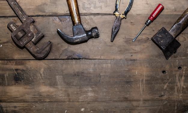 Vieux outils vue de dessus