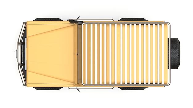 Vieux petit suv beige réglé pour les routes et les expéditions difficiles