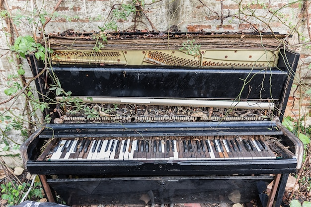 Vieux piano avec mur de béton et feuille