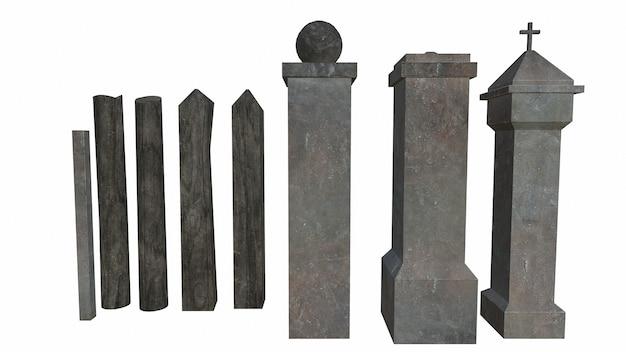 Vieux piliers de roche sur fond blanc