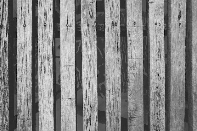 Vieux plancher de pont en bois, vue de dessus