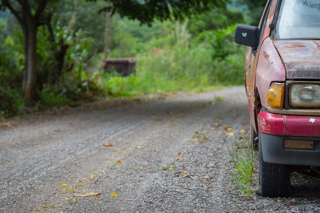 Le vieux pneu crevé et le chemin vers la forêt