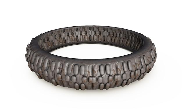 Vieux pneus empilés, isolés sur fond blanc rendu 3d