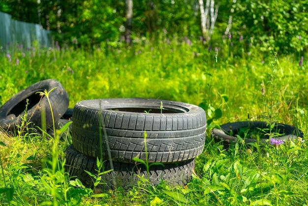 Vieux pneus de voiture en caoutchouc dans une forêt naturelle verte. destruction de l'écologie.