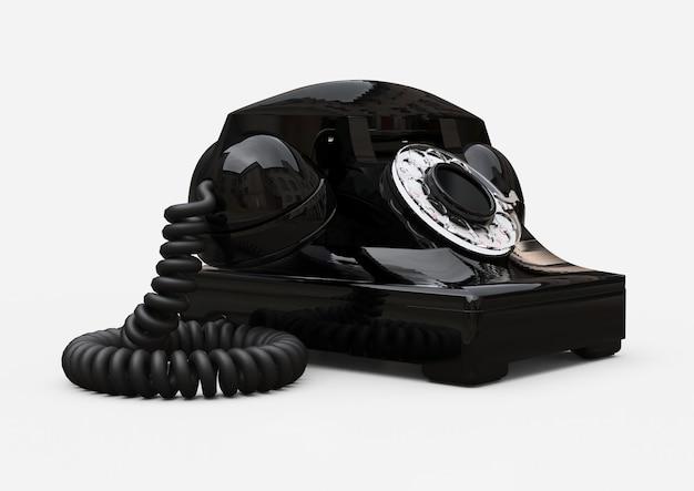 Vieux téléphone à cadran noir sur fond blanc