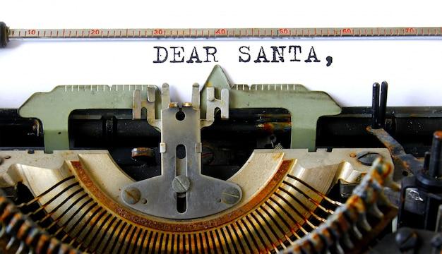 Vieux texte de machine à écrire cher lettre santa