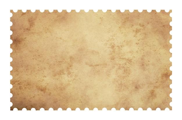 Vieux timbre-poste de papier vierge grunge isolé sur fond blanc