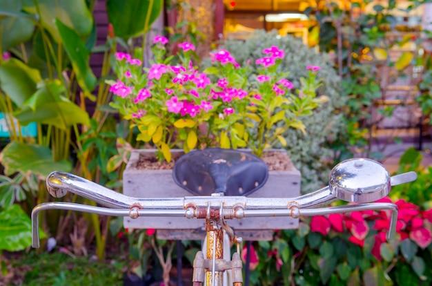 Vieux vélo et fleurs en couleurs