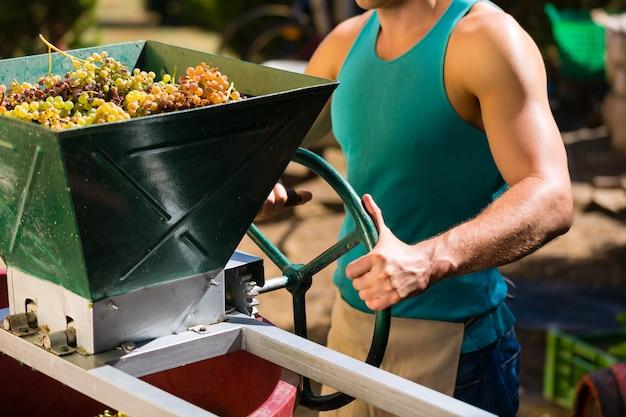 Vigneron travaillant avec une machine à vendanger