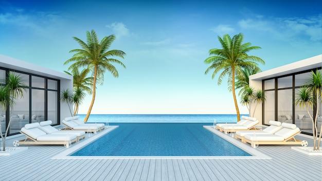 Une villa moderne, un salon de plage, des chaises longues sur la terrasse ensoleillée et une piscine privée