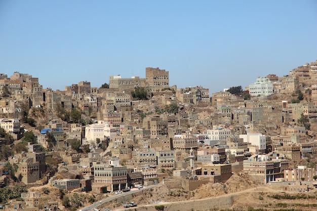 Village d'al manakhah dans les montagnes, yémen