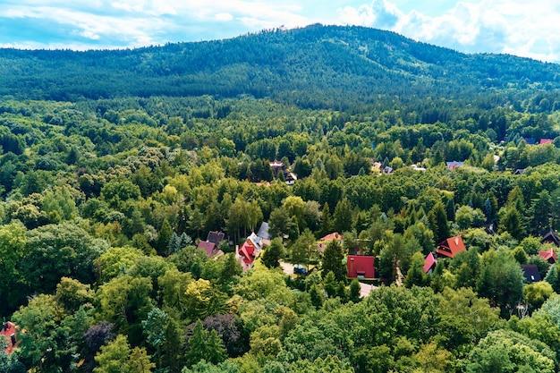 Village de montagne avec forêts, vue plongeante