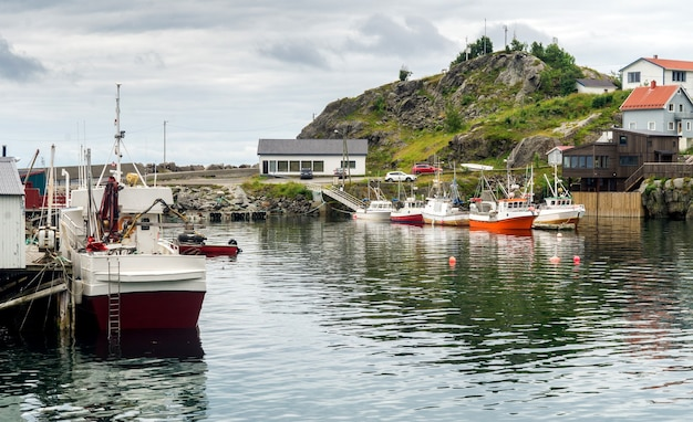 Village de pêcheurs traditionnel dans l'archipel des lofoten, comté de nordland, norvège. route touristique nationale des lofoten
