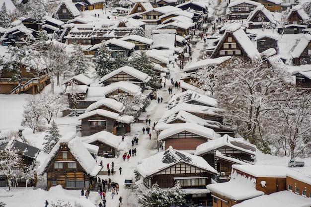 Villages historiques de shirakawa-go et gokayama en hiver