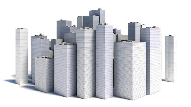 Ville d'affaires moderne isolée sur fond blanc