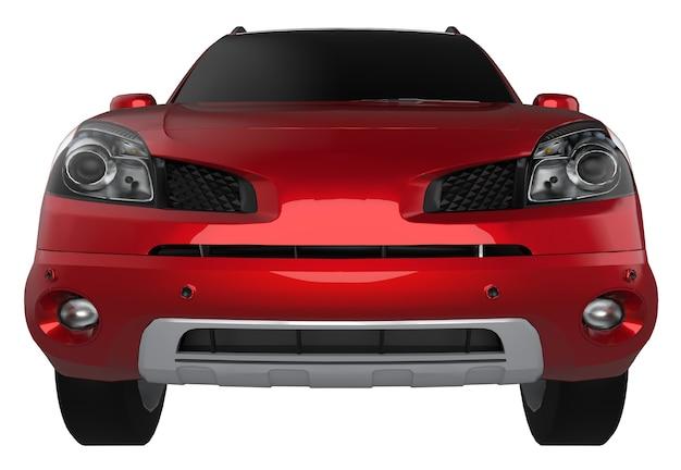 Ville compacte crossover couleur rouge sur fond blanc. rendu 3d.