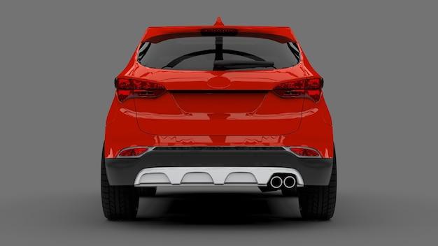 Ville compacte crossover couleur rouge sur fond gris. rendu 3d.
