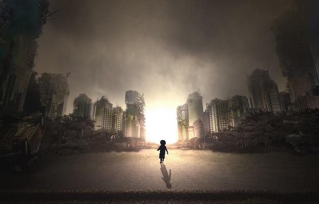 Ville détruite par la guerre et enfant marchant dans la rue