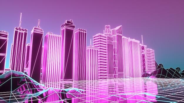 Ville futuriste numérique dans un cyber-monde