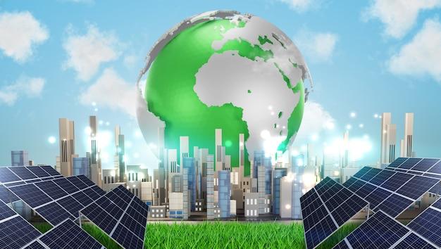 Ville Intelligente Et Développement Durable De L'énergie Solaire. Source D'électricité Alternative, Illustration 3d Photo Premium