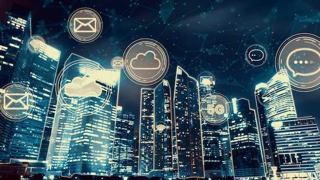 Ville numérique intelligente avec graphique abstrait de la mondialisation montrant le réseau de connexion