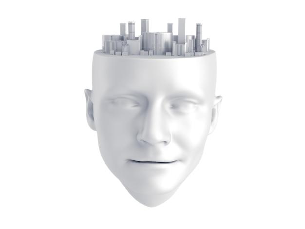 Ville sur la tête humaine sculpture.rendu 3d