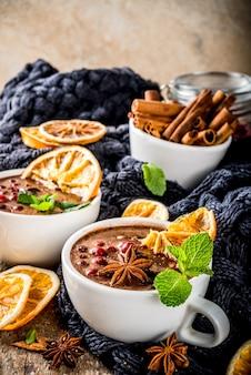 Vin chaud au chocolat chaud, épices, canneberge et orange séchée