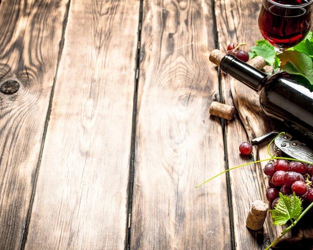 Vin rouge avec une branche de vigne sur une table en bois
