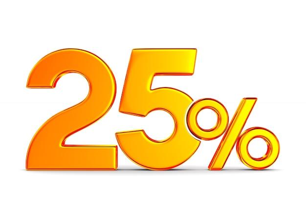 Vingt-cinq pour cent sur l'espace blanc. illustration 3d isolée