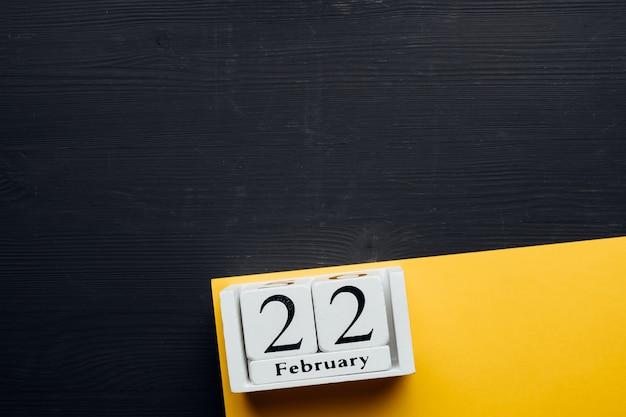 Vingt-deuxième jour du calendrier du mois d'hiver février avec espace de copie.