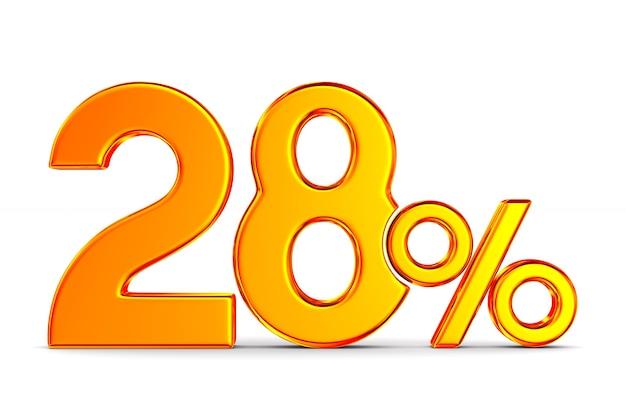 Vingt-huit pour cent sur l'espace blanc. illustration 3d isolée