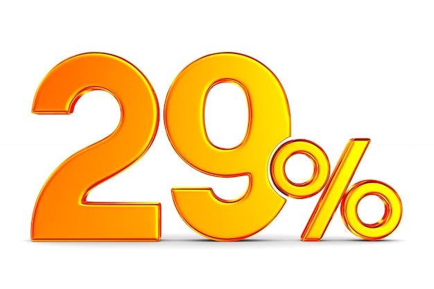 Vingt-neuf pour cent sur l'espace blanc. illustration 3d isolée