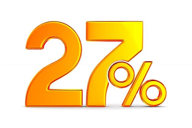Vingt-sept pour cent sur l'espace blanc. illustration 3d isolée