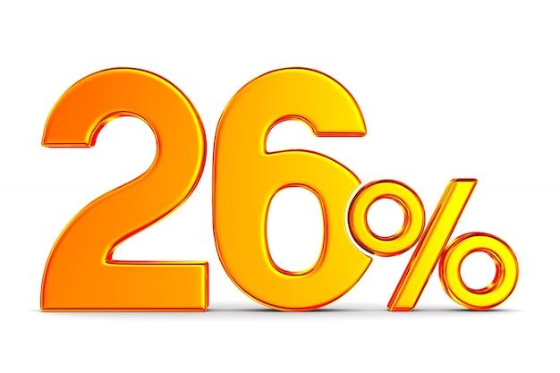 Vingt-six pour cent sur l'espace blanc. illustration 3d isolée